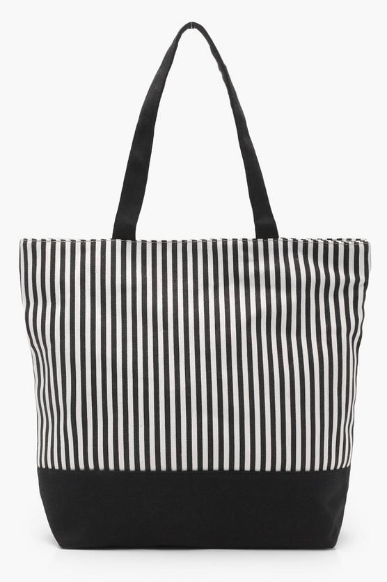 bbdd672b9 Kerry Mono Stripe Beach Bag. Black and White stripped beach bag tote. #beach  #tote #totebag #black #white #striped #bag