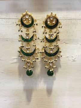 Indian Wedding Jewelry - Three Crescent Earrings | WedMeGood Three Layer Earrings with Green Enamel work and pearl and emerald drops! #wedmegood #jewelry #earrings