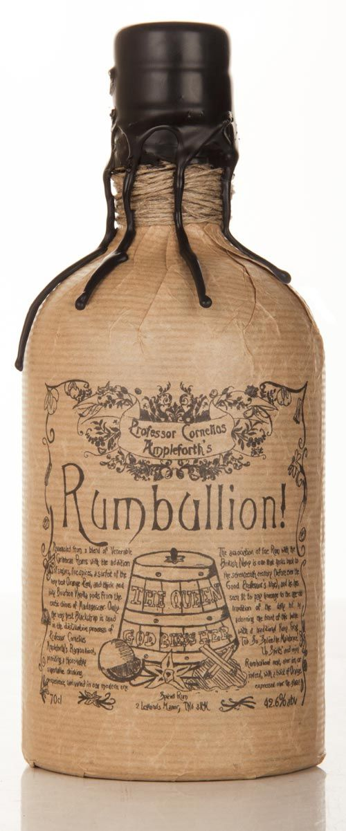 Rumbullion! Is a spiced rum concoction, based on the kind of rich, full-bodied rums the seafaring fraternity would have enjoyed centuries ago. At the core of this fabulous winter warmer lies a blend of the very finest high proof Caribbean rum, with creamy Madagascan vanilla, zesty orange rind, a secret recipe, and finished with a handful of cinnamon and cloves and just a hint of cardamom. Each bottle is wrapped in crinkled brown paper, wound with twine and sealed with black wax.