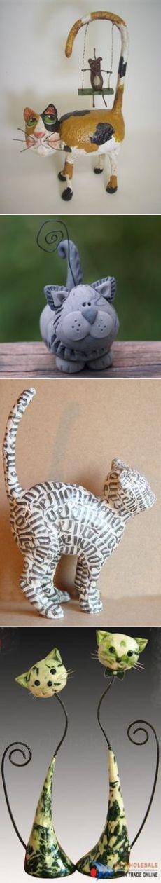 Поделка изделие Папье-маше Кот Семён Бумага Краска фото 1 | Cats