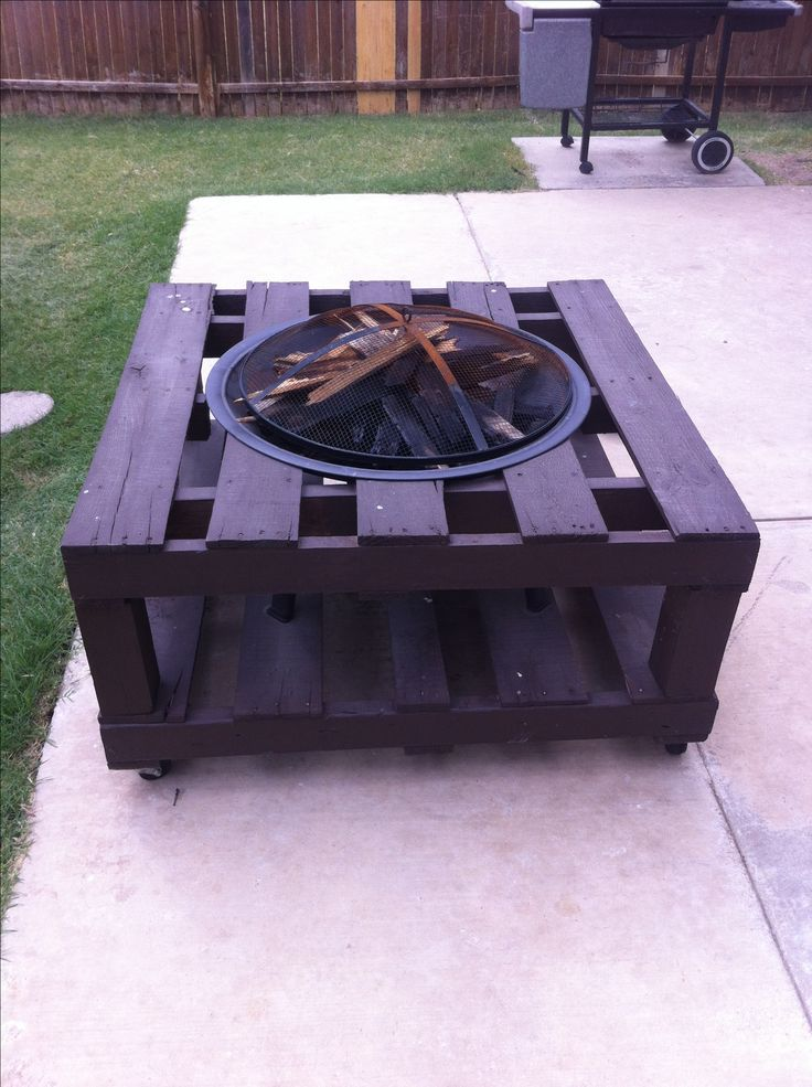 Pallet fire pit- Use this fire pit without the worry of damaging your deck or patio. Deck Protect is safe on composite or any surface. Enjoy!! www.deckprotect.com
