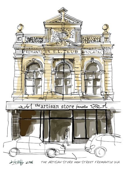 Dave Hendroff Ink and Coffee sketch The Artisan Store Fremantle 81a High Street Fremantle