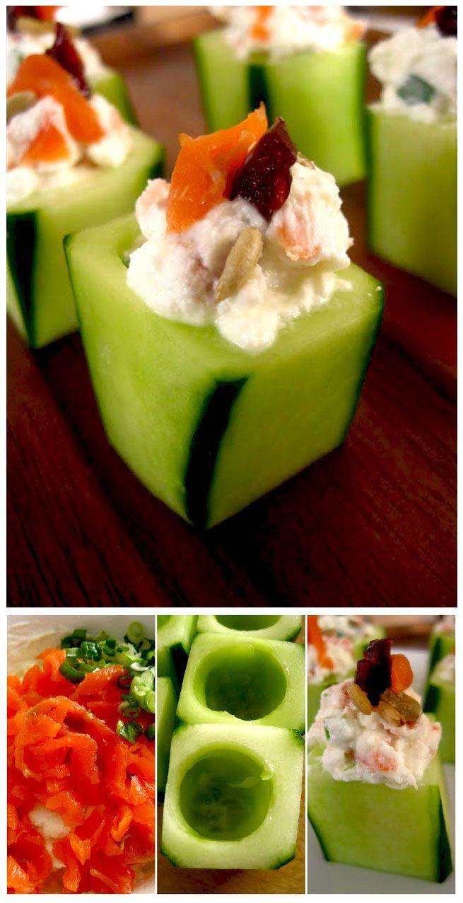 Salatgurke in Stücke schneiden und aushöhlen, mit geräuchertem Lachs und Ziegenkäse füllen. Geht auch mit magerem Putenschinken und Frischkäse