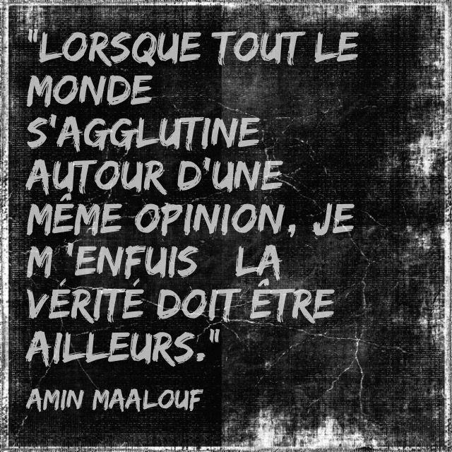 """""""Lorsque tout le monde s'agglutine autour d'une même opinion, je m 'enfuis : la vérité doit être ailleurs."""" - Amin Maalouf, Léon l'Africain -"""