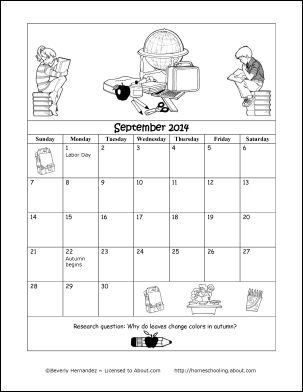 September 2014 Printable Coloring Calendar