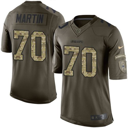 Nike Dallas Cowboys Men's #70 Zack Martin Limited Green Salute to Service NFL Jersey