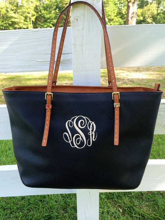 Monogram Purse Bag Tote Monogrammed Purse by SassyClassyMonogram
