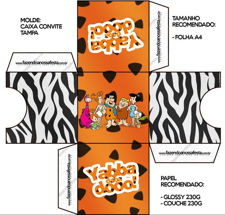 Convite Caixa Fundo Flintstones: