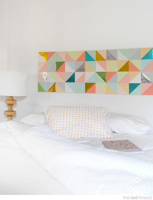 DIY Geometric Wall Art turned into headboard.