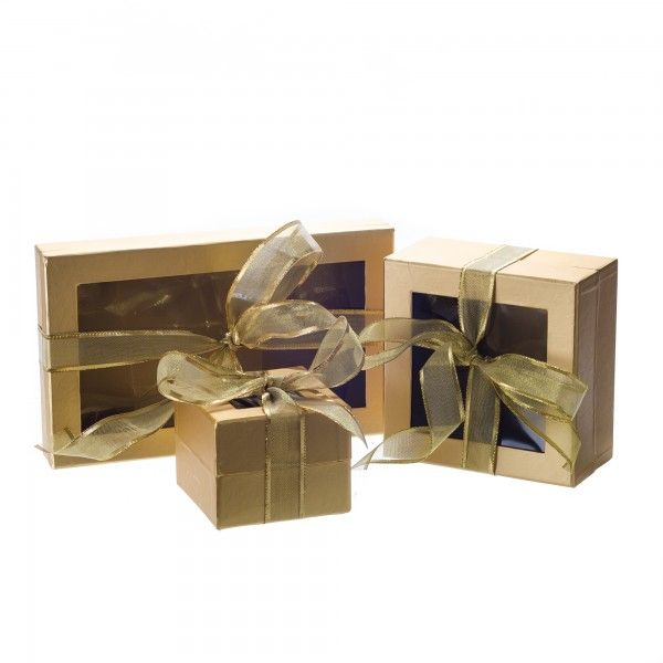 Window Box with Ribbon - Solid Gold