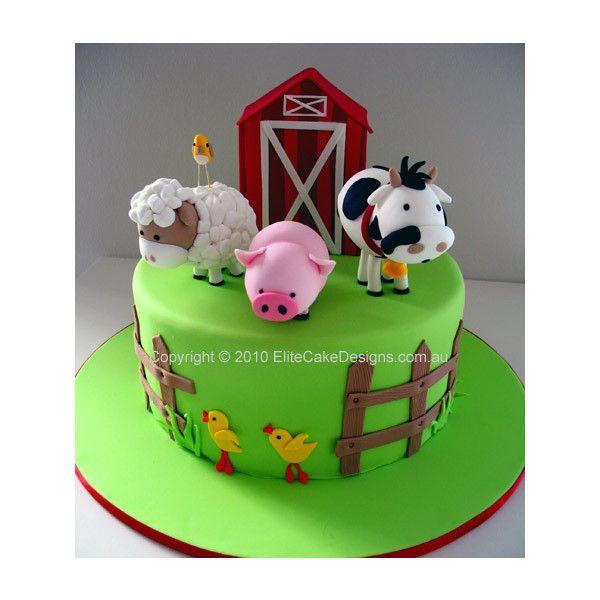 Farm Animals Birthday Cake, 1st Birthday Cakes Sydney Australia, Kids Birthday Cakes, Birthday Cake Designs, Barn Yard Birthday Cake ($490) found on Polyvore
