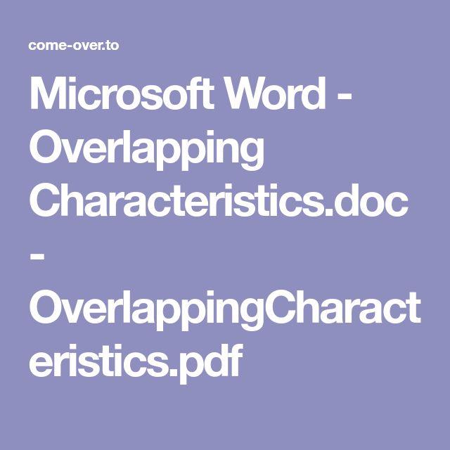 Microsoft Word - Overlapping Characteristics.doc - OverlappingCharacteristics.pdf