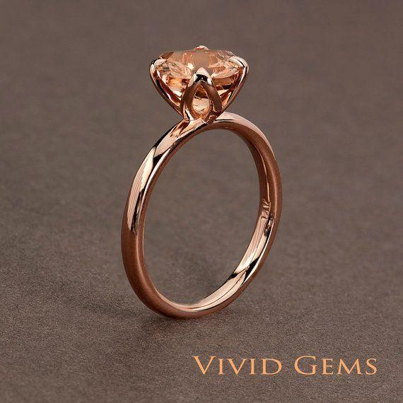 Peachy rosa Morganita rosa anillo de oro anillo por VividGemsOnEtsy