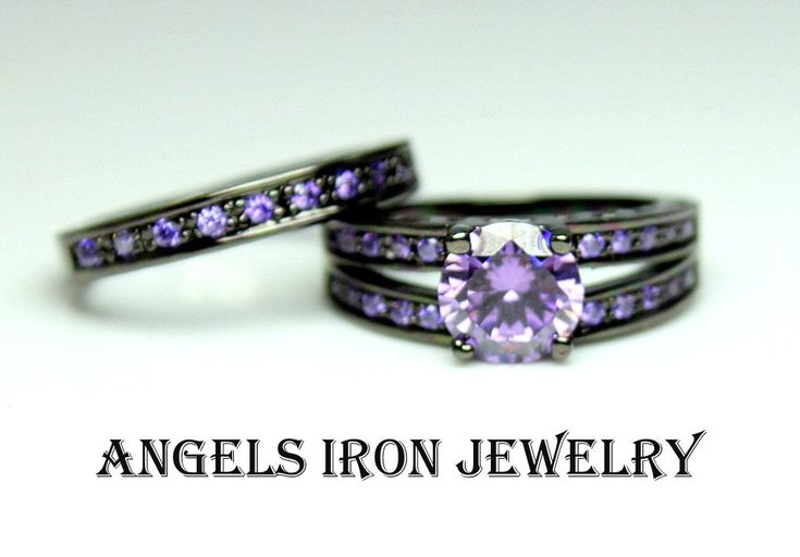 Black Gold Ring Women Enagement Wedding Anniversary Promise Rings Purple Amethyst CZ Women Unique Gothic Jewelry