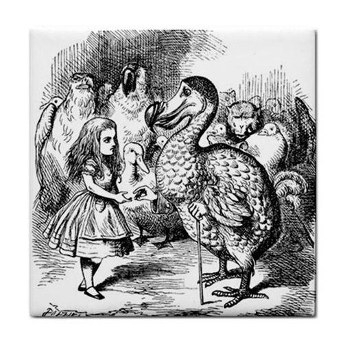 Alice In Wonderland And The Dodo Bird Art Ceramic Tile