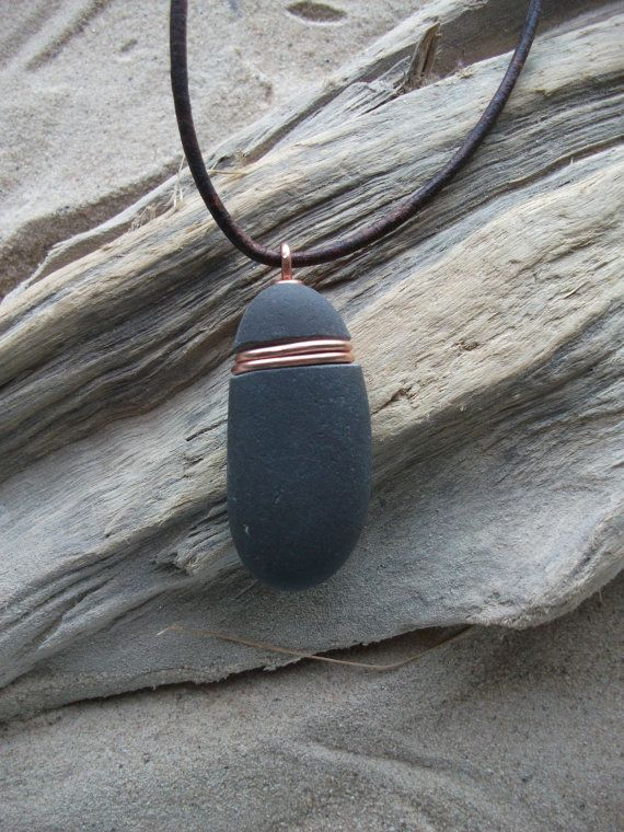 Scottish Sea Pebble and Copper  Necklace by byNaturesDesign