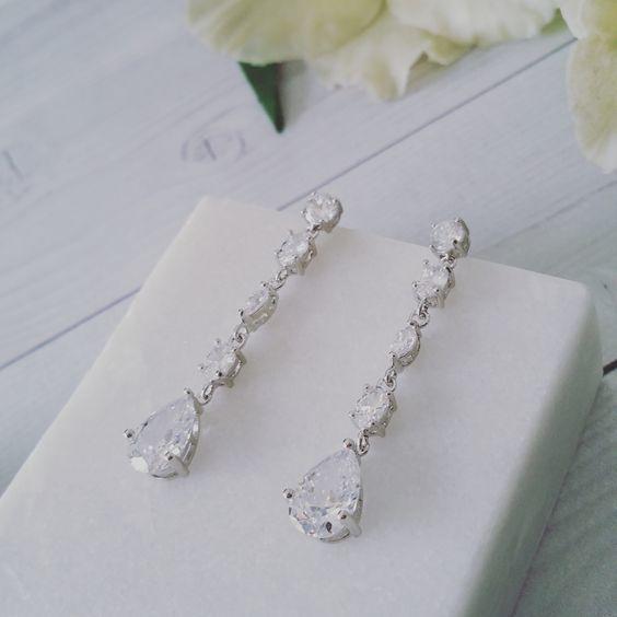 Bridal Earrings   Julia Long Crystal Drop Bridal Earrings by LITTLE WHITE COUTURE