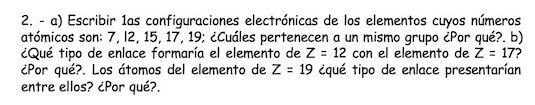 Ejercicio 2, propuesta 1, SETIEMBRE 1999. Examen PAU de Química de Canarias. Temas: estructura atómica.
