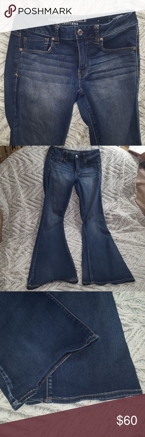 American Eagle BOHO FLARE SUPER STRETCH Jeans American Eagle BOHO FLARE SUPER SUPER STRETCH Jeans ~ size 6 regular ~ 65% cotton  23% viscose 11% polyester 1% elastane AMAZING HIGH QUALITY HARD TO FIND STYLE OF JEANS! I only wore these once. Small stitch/string loose on back of left pocket. Does not affect jeans at all, just wanted to document and slight flaw. I SHIP DAILY American Eagle BOHO FLARE SUPER SUPER STRETCH Jeans American Eagle Outfitters Jeans Flare & Wide Leg