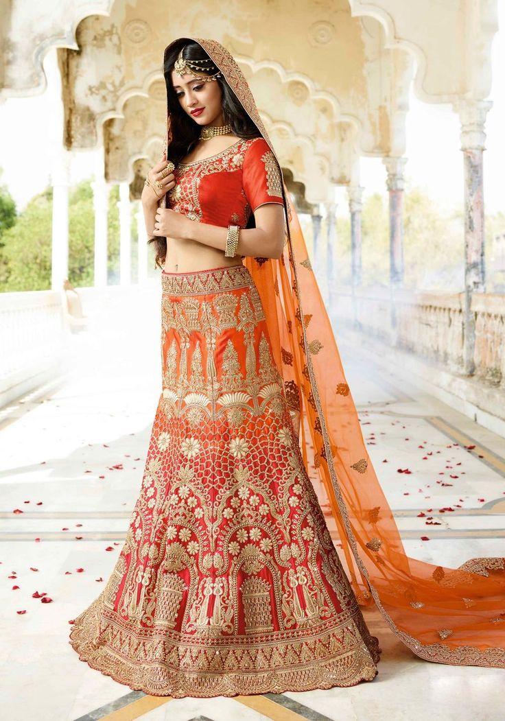 Orange Punjabi Bridal Lehenga BRIDAL WEAR ROYAL LEHENGA CHOLI WITH MATCHING BLOUSE AND DUPATTA