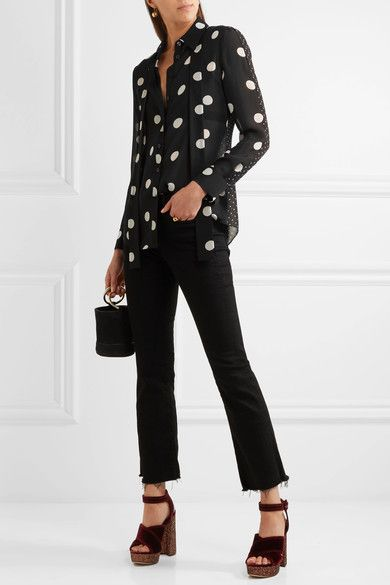 Boutique Moschino - Polka-dot Silk-chiffon Shirt - Black - IT40