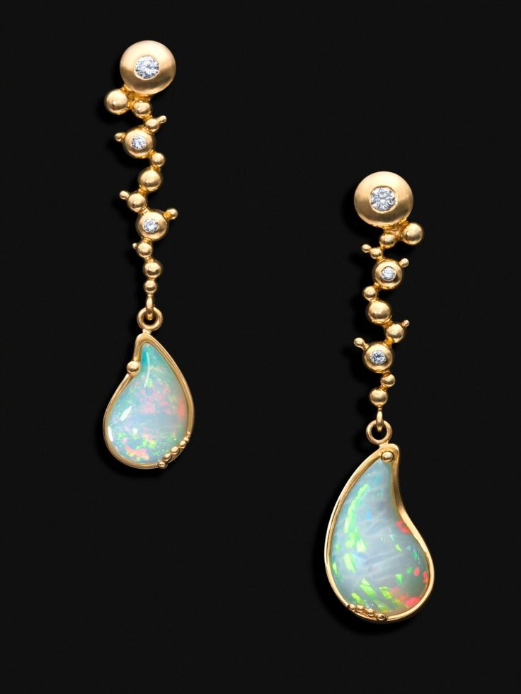 """Earrings """"Holy Water in Debre Libanos"""" made with hand-carved Wello opals (5,5cts) set in 18k gold with diamonds (0,16cts). Unique Piece. Ornella Iannuzzi"""