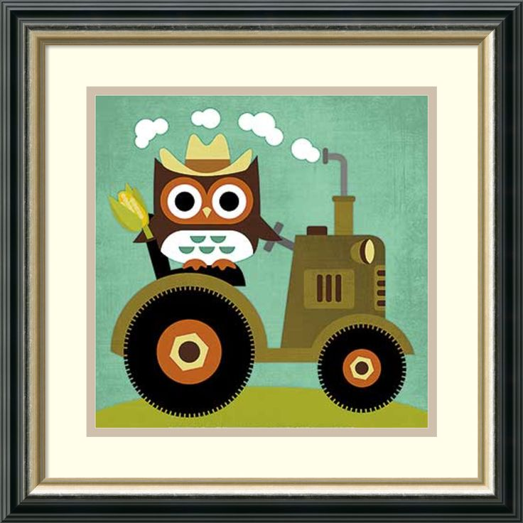 Artist: Nancy Lee</li><li>Title: Owl on Tractor</li><li>Frame: Black reverse with silver lining 1.625-inch wood</li><li>Outside dimensions: 18.50 inches high x 18.50 inches wide