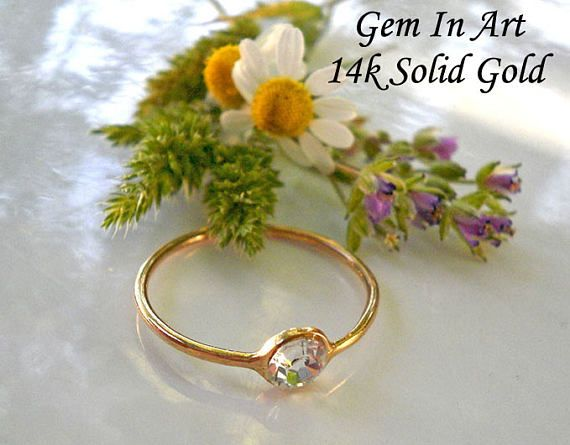 14K Solid Gold Ring 14K Solid Gold Stacking Ring 14K Gold