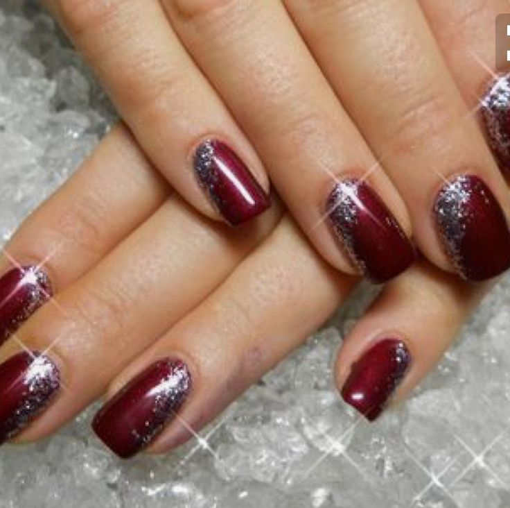 Red Nails with Sparkle