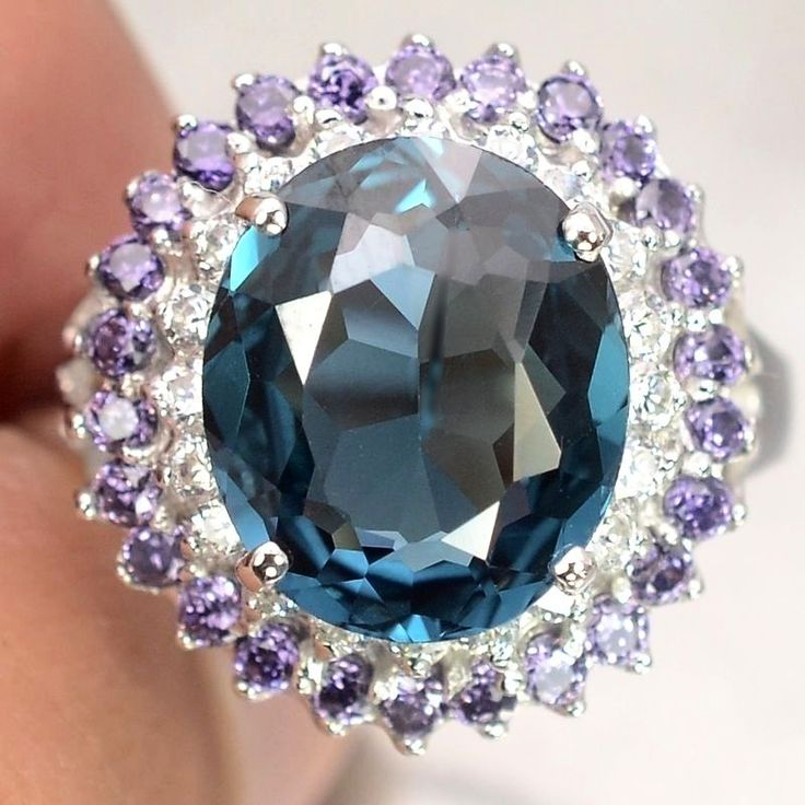 Vintage 4.25CT Oval Cut London Blue Topaz Purple Amethysts White Sapphire Ring