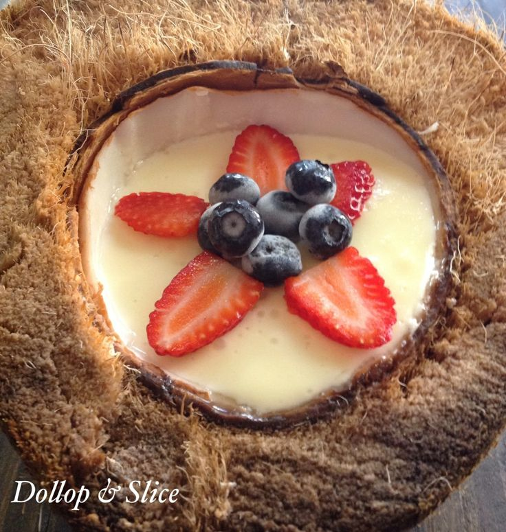 Baked Cheesecake in a Coconut   www.dollopandslice.com