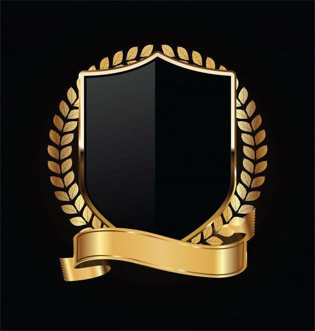 Gold And Black Shield With Gold Laurels Design Studio Logo Digital Graphics Art Shield Design