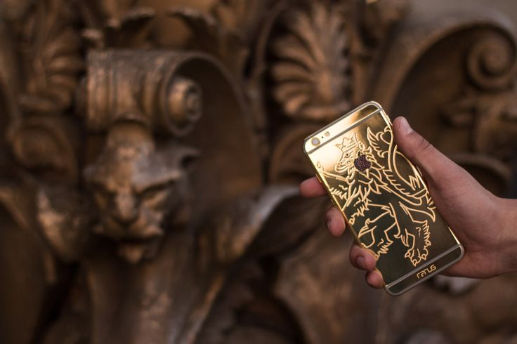 The newest iPhone 6s with the Czech lion and precious stones and 24 carat gold.  iPhone 6s available now at order@rarus.cz