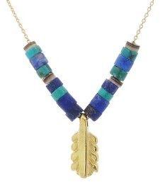 Elisa Solomon Gold Feather Necklace with Turquoise & Shell Heshi Beads on shopstyle.com