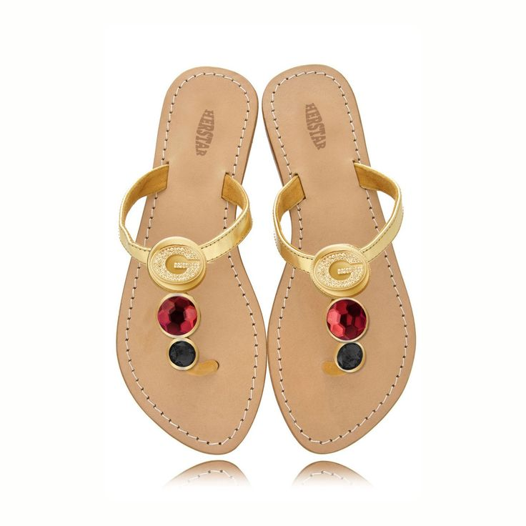 Georgia Bulldogs Ladies Jewel Embellished Flat Sandals-With Large Red – HERSTAR