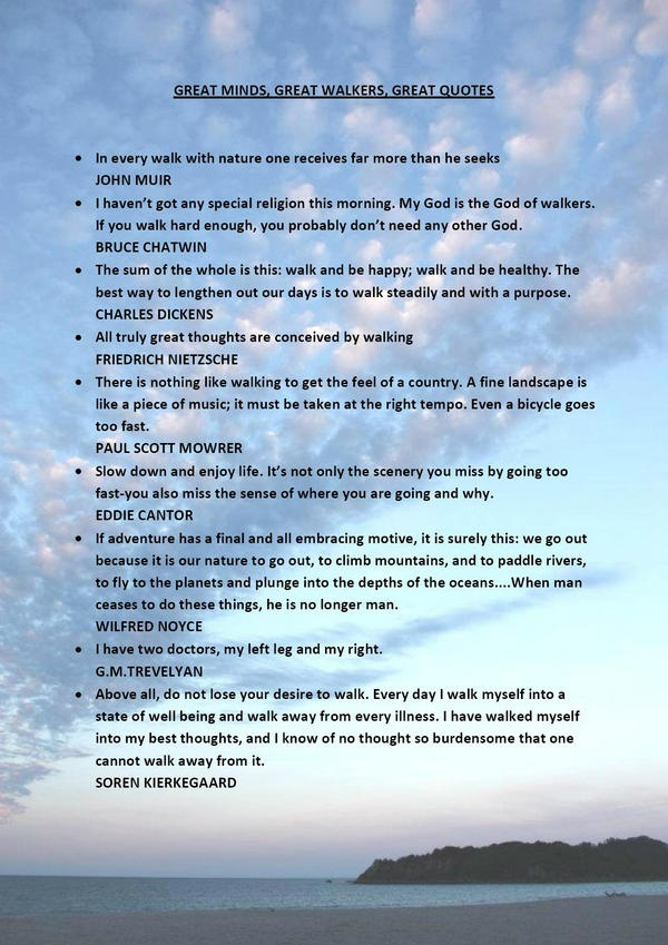 Embedded image permalink. Some great quotes from some great walkers on top of a photo taken at Mount Manganui