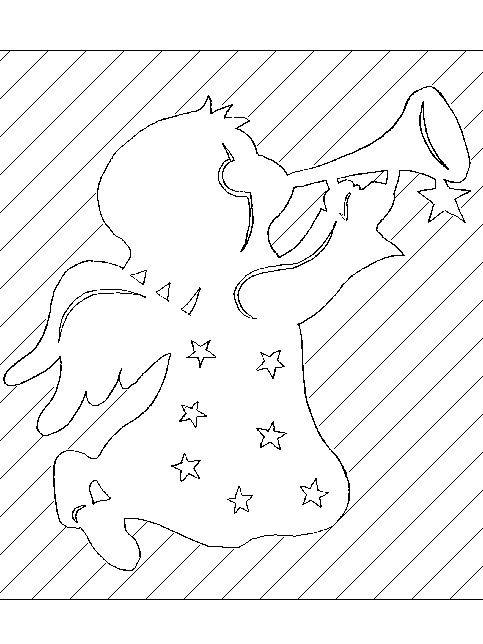 vystřihovánka anděl s trubkou