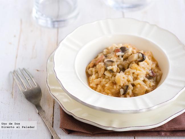 Receta de risotto de setas, pollo y jamón
