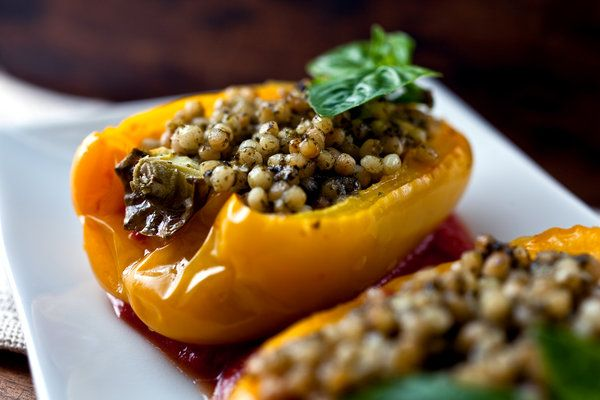 Stuffed Yellow Peppers With Israeli Couscous and Pesto - One of my favorite quick and easy vegetarian recipes. I make this one a lot!