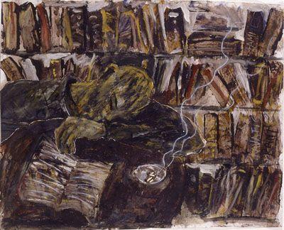 Miquel Barcelo-Miquel BarcelÓ, « Bibliothèque avec cigarette », 1984, peinture sur toile, 200 x 300 cm © ADAGP_.jpg (400×324)