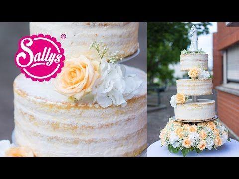 Hochzeitstorte dreistöckig/ naked Cake / Eistorte mit Pfirsich-Mango-Parfait / Wedding Cake - YouTube