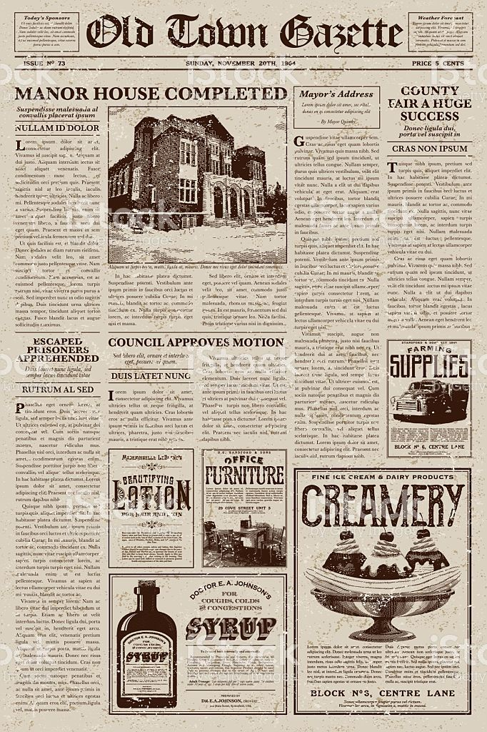 a vector illustration of an old fashioned newspaper in a