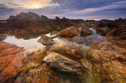 Flickr • Darkness at Dawn by Edmund Khoo • photo of ocean rock pool at Bashams Beach South Australia • rock pool Australia