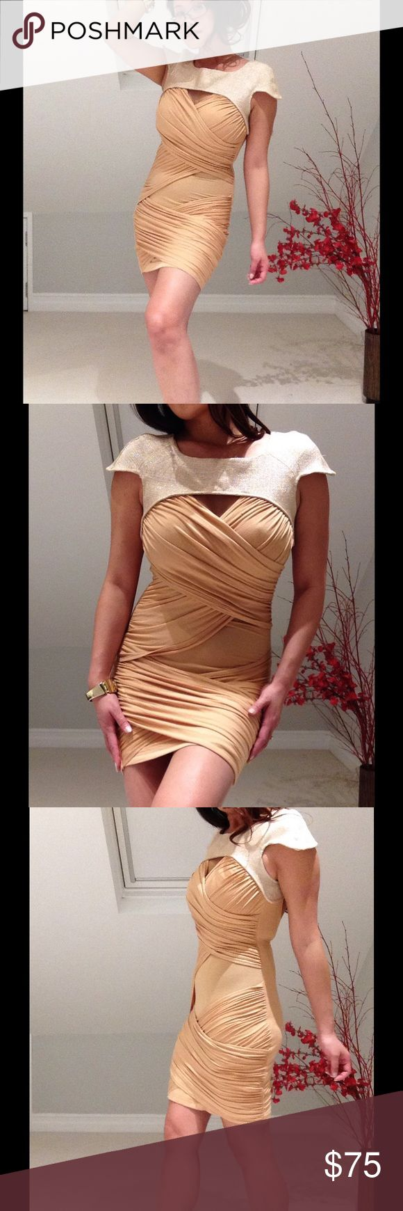 ✨Finders Keepers Gold Dust In My Arms Dress✨ ✨NWT Finders Keepers Gold Dust and Nude In My Arms Dress. Beautiful fitted nude dress with rouching throughout and cap sleeves. Cut out back is alluring and classy. Size 8 AU / 4 US. ✨ Finders Keepers Dresses Mini