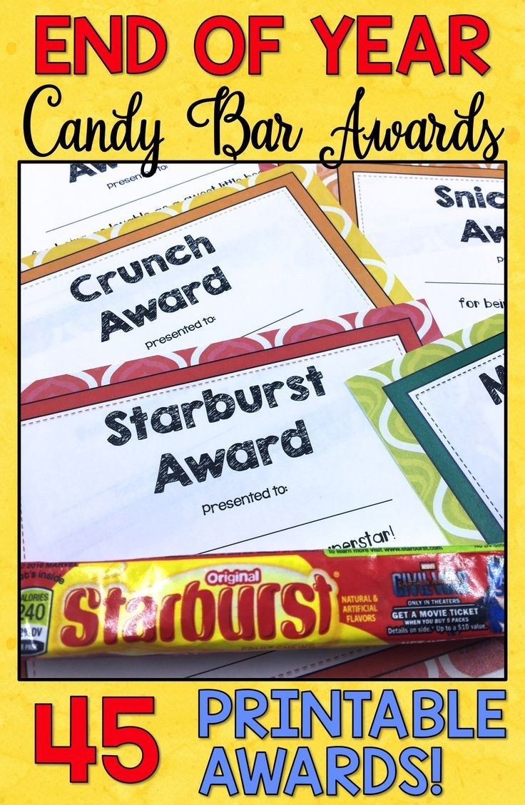 End of Year gifts for students are easy, affordable, and fun with these printable End of Year Awards! Candy Bar Awards are perfect for elementary, middle school, and high school students. Teachers, use these ideas for fun end of year activities in your classroom during this hectic time of year. Click through to see the list of Candy Bar Awards!