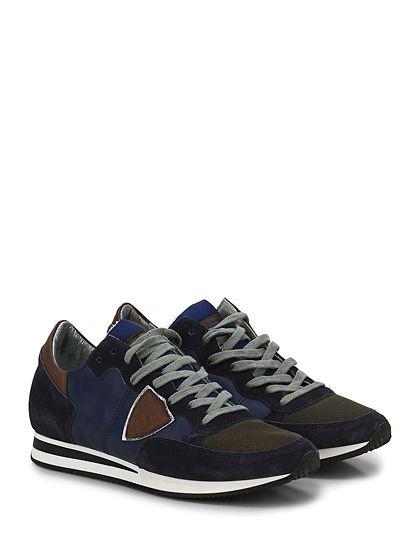 PHILIPPE MODEL PARIS - Sneakers - Uomo - Sneaker in pelle, camoscio e tessuto tecnico con logo su lato esterno e suola in gomma. Tacco 30, platform 15 con battuta 15. - BLU\BROWN - € 235.00