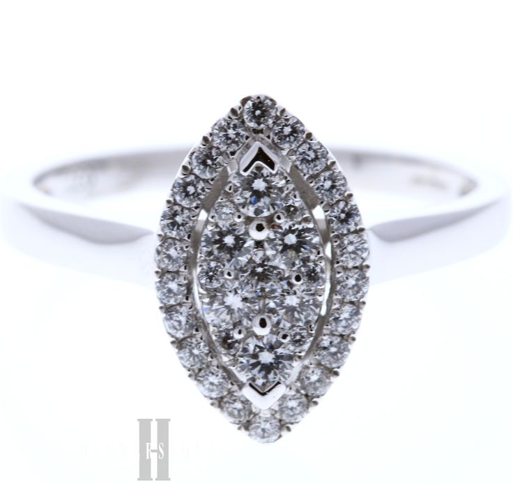 Illusion marquise diamond halo cluster, totalling 0.37 carat and mounted in 18ct White Gold. A beautiful ring which would make the perfect engagement ring.