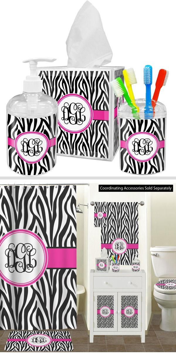 Zebra Print Bathroom Accessories Set