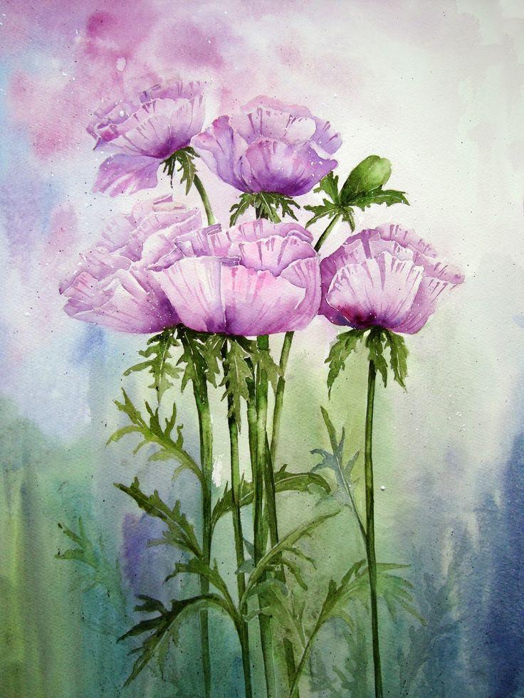 Watercolour Florals: Patty's Plum Poppies