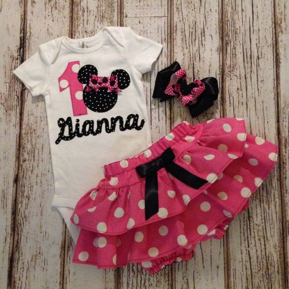 Minnie Mouse Pink Polka Dot Name Onesie With by Polkadotologie
